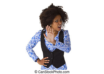 Female Afro american say NO - isolated on white background