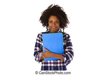 Female afro american with a job application