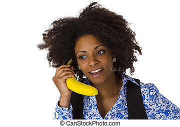 Female afro american with banana