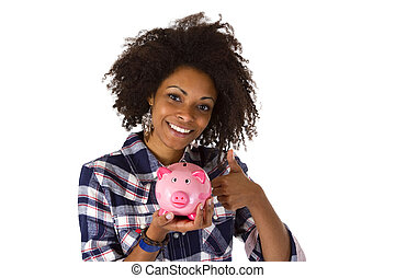 Female afro american with piggy bank
