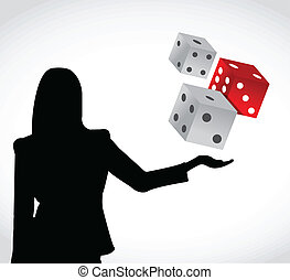female and a set of dices illustration design