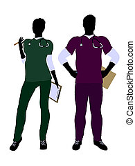 Female and Male Doctor Silhouette - Female and male doctor...