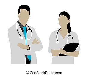 Female and Male Doctor Silhouettes