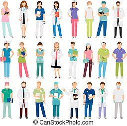 Female and male doctors and nurses