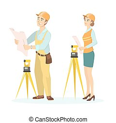 Female and male engineers.