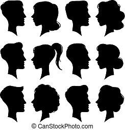 profile icon male and female avatar woman man cartoon portrait mix