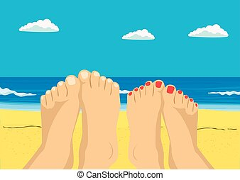 Female and male feet on tropical beach