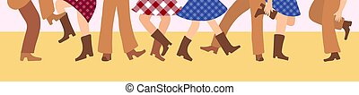 Female and male legs in cowboy boots are knitted on a flat floor in a flat style. Vector illustration for a horizontal banner with tatsors in the American style. Western dance of people in traditional clothes