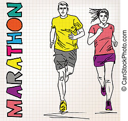female and male runner sketch illustration