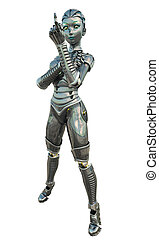 Female Android - beckoning - Shiny reflective female android...