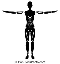 Female Android Silhouette Vec...