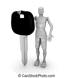 female android with car keys - 3d illustration of a female...