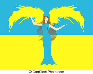 Female angel against the flag of Ukraine - Female angel in...