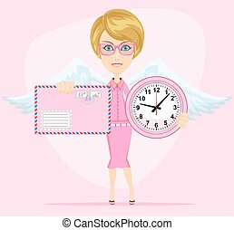 Female angel holding a pink watchs and envelope