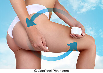 Female applying cosmetic cream from cellulite on the...