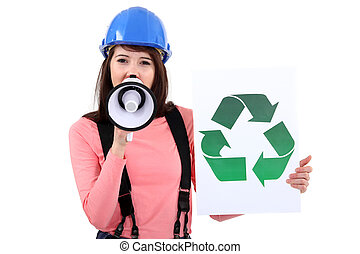 female apprentice shouting in loudspeaker shows recycling logo