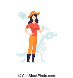 Female Archaeologists or Paleontologist Character Standing...
