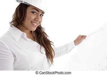 female architect holding blue print