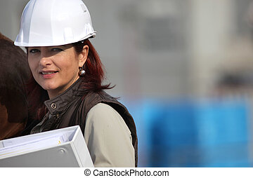 Female architect in charge of construction