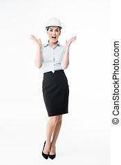 Female architect in hard hat