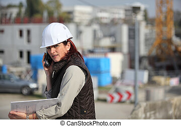 Female architect on site