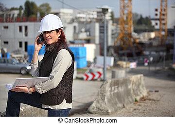 Female architect on site
