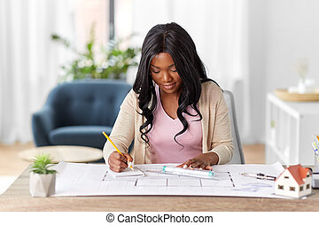 female architect with house model and blueprint - ...