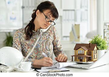 Female architect working