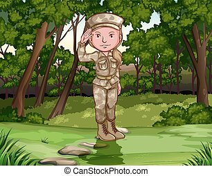 Female army soldier in forest