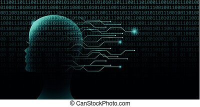 female artificial intelligence technology concept with binary code
