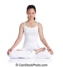 meditation - female asian teenager doing meditation against...