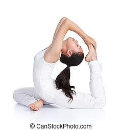 female asian teenager doing yoga against white background