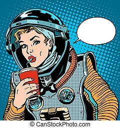 Female astronaut drinking soda pop art retro style
