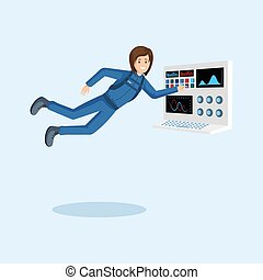 Female astronaut training flat illustration. Cosmonaut floating in zero gravity, pressing button on spaceship control panel cartoon vector character. Space mission preparing isolated