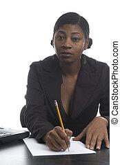 female at desk