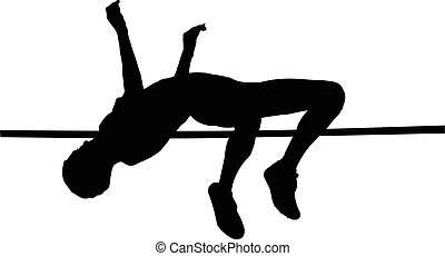 female athlete high jump black silhouette vector...