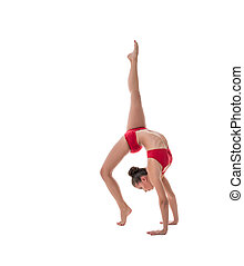 Female athlete performs gymnastic handstand