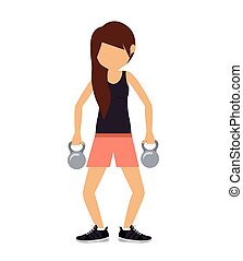 female athlete practicing weight lifting