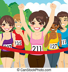 Female Athlete Runner Winning - Beautiful brunette female...