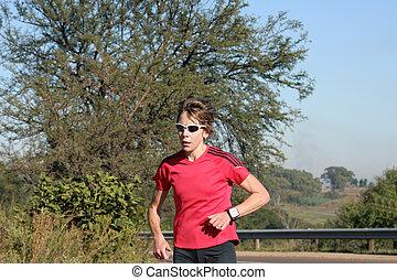 Female athlete running