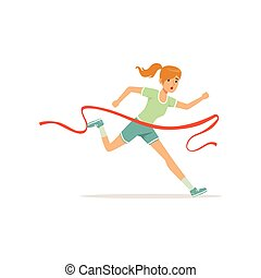 Female athlete taking part in running marathon. Woman character cross finish line. Girl runner in shorts and t-shirt. Olympic sport game. Isolated flat vector