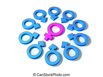 Female Attraction - A pink female symbol surrounded by ten ...