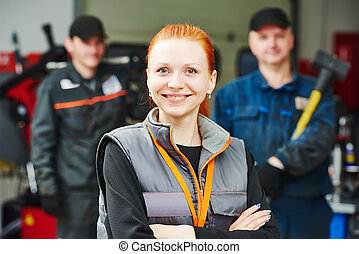 female automobile auto mechanic