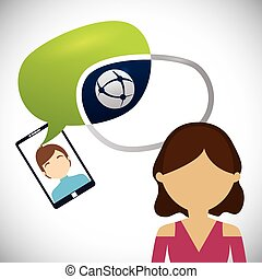 female avatar chat smartphone man bubble