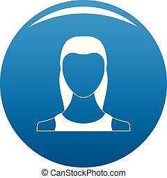 Female avatar icon blue vector