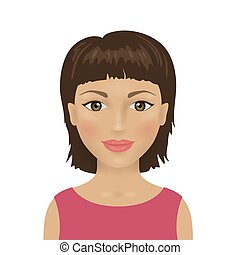 Female avatar icon, young attractive woman