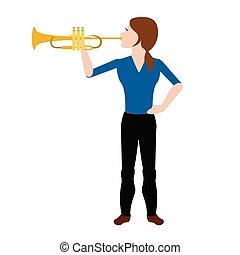 Female avatar playing a trumpet. Vector illustration design