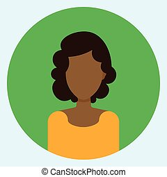 Female Avatar Profile Icon Round African American Woman Face