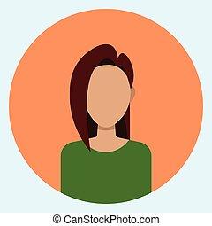 Female Avatar Profile Icon Round Woman Face