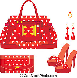 Female bag, purse and shoes